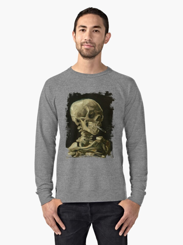 Skull Of A Skeleton With A Burning Cigarette - Vincent Van Gogh Lightweight Sweatshirt Front