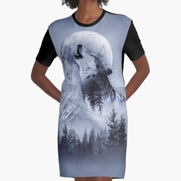 Howl with the Wolf Graphic T-Shirt Dress