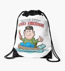Tackleberry Goes Fishing Drawstring Bag