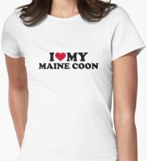 I love my Maine coon cat Women's Fitted T-Shirt