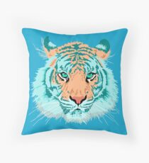 Tiger In Teal And Aqua Throw Pillow