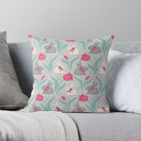 Bunny floral pattern Throw Pillow