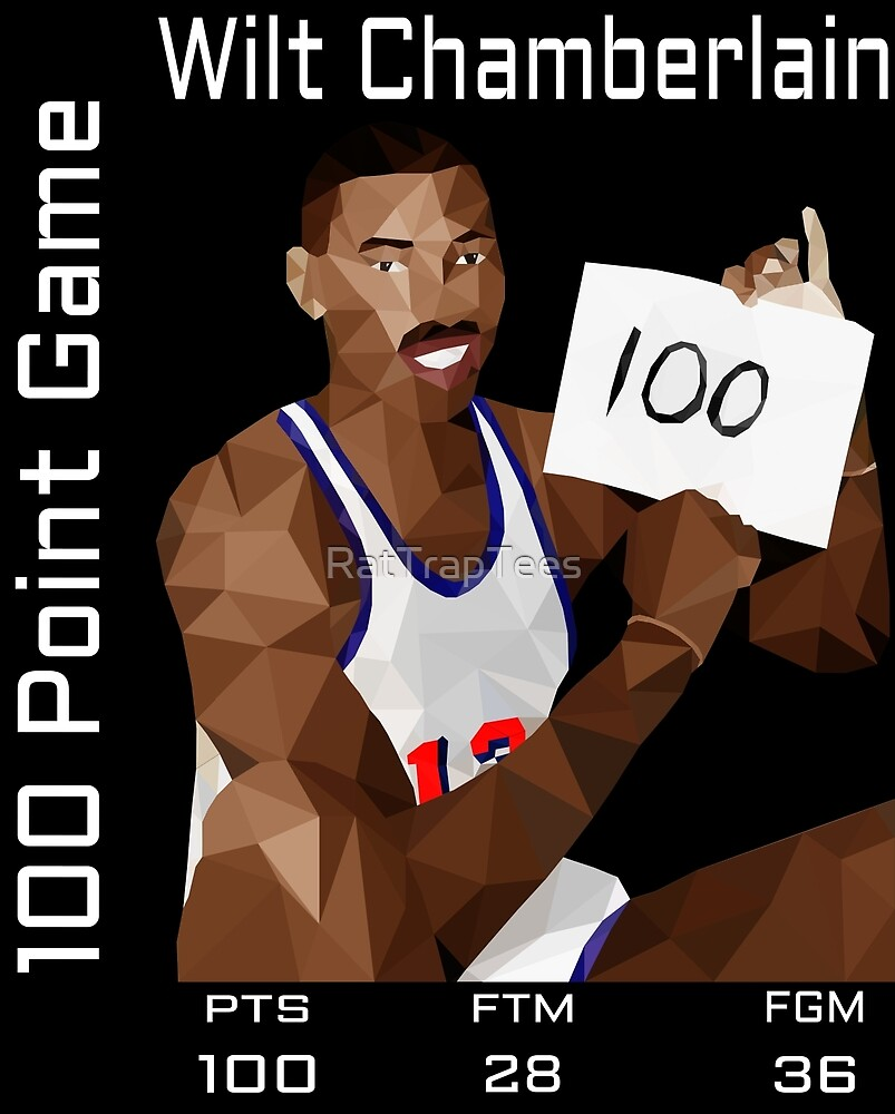 Wilt Chamberlain 100 Points Statline Black by RatTrapTees