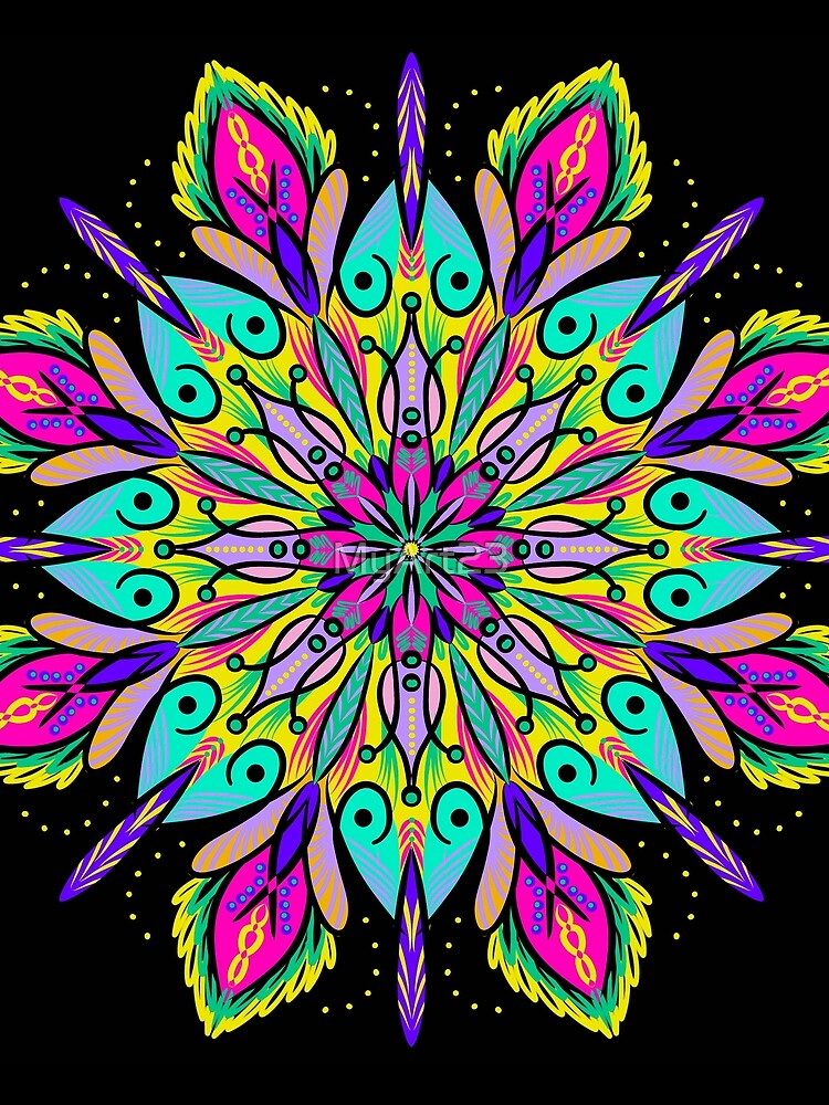 Mandala in Black Background by MyArt23