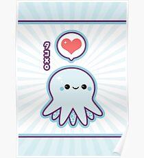 Cute Blue Octopus Poster