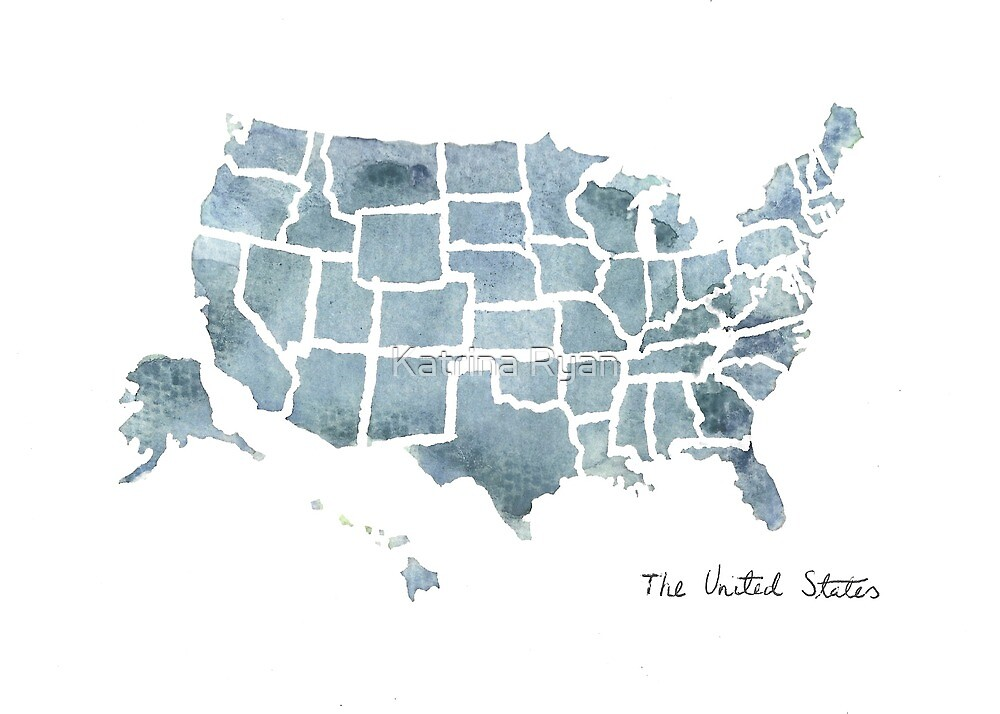 United States of America Watercolor by KatrinaRyanArt