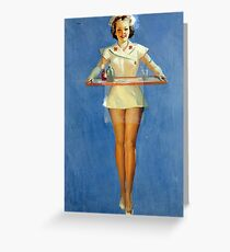 Vintage Sexy Nurse Uniform Greeting Card