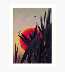 Red Heat (with Dragonflies) Art Print