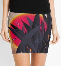 Red Heat (with Dragonflies) Mini Skirt