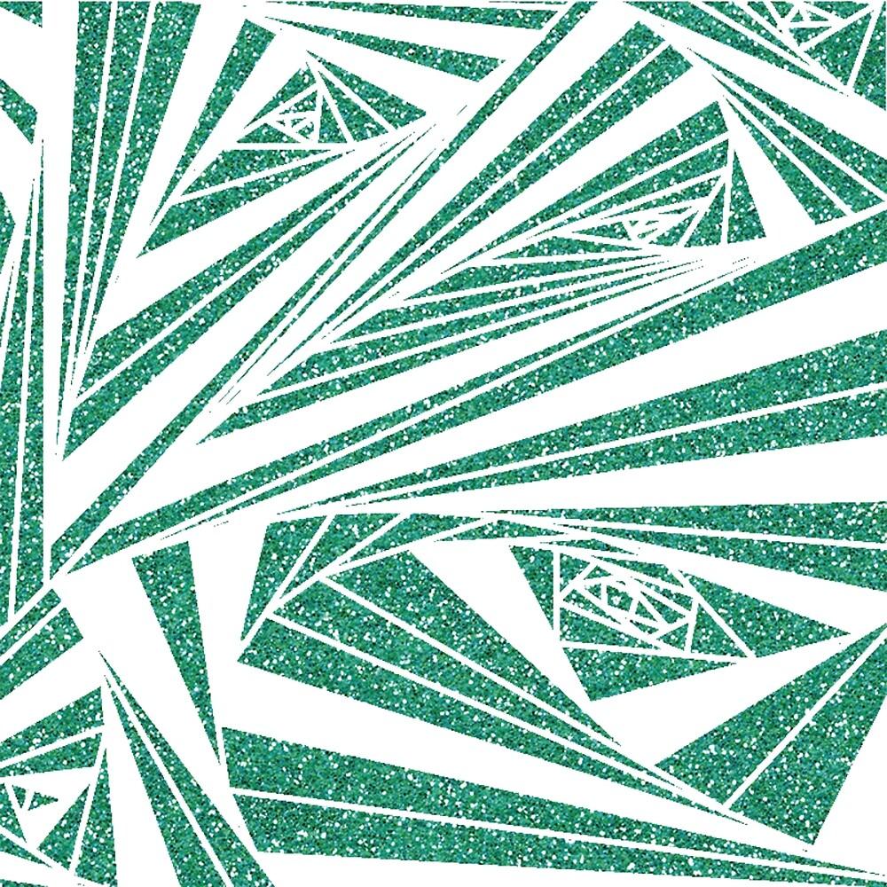 Turquoise Glitter Spiral Pattern by PrettyDesign