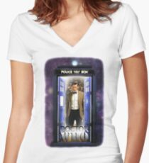 Ninth Doctor Blue Box T-Shirt / Hoodie Women's Fitted V-Neck T-Shirt