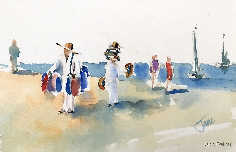 Hats on the Beach by Jane Bailey