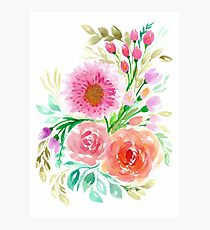 Pink Peach Flower in Watercolor Painting Photographic Print