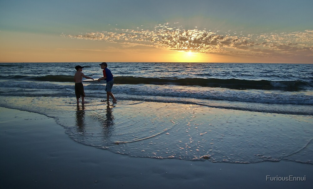Two Boys At Play On The Beach At Sunset by FuriousEnnui