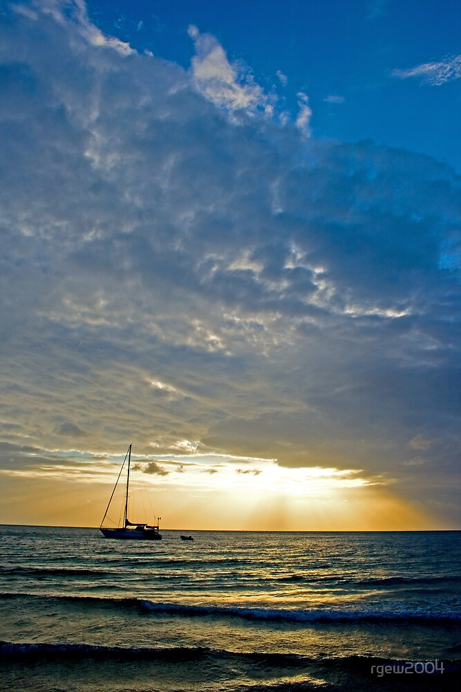 Sunburst Over Yacht by Greg Halliday