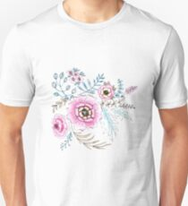 Seamless watercolor blue flowers pattern on white background Unisex T-Shirt