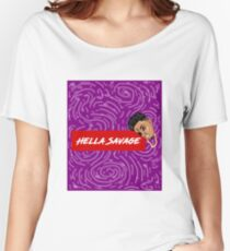 Hella Savage Purple Spiral Swirls Women's Relaxed Fit T-Shirt