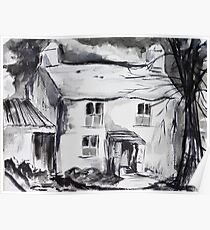 Welsh Farmhouse Pen and Ink Wash Poster