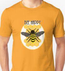 Cute Bee Happy Fun Honeycomb Bumble Bee Graphic Unisex T-Shirt