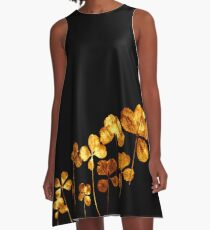 tréfle doré sur fond noir/golden clover on back background A-Line Dress