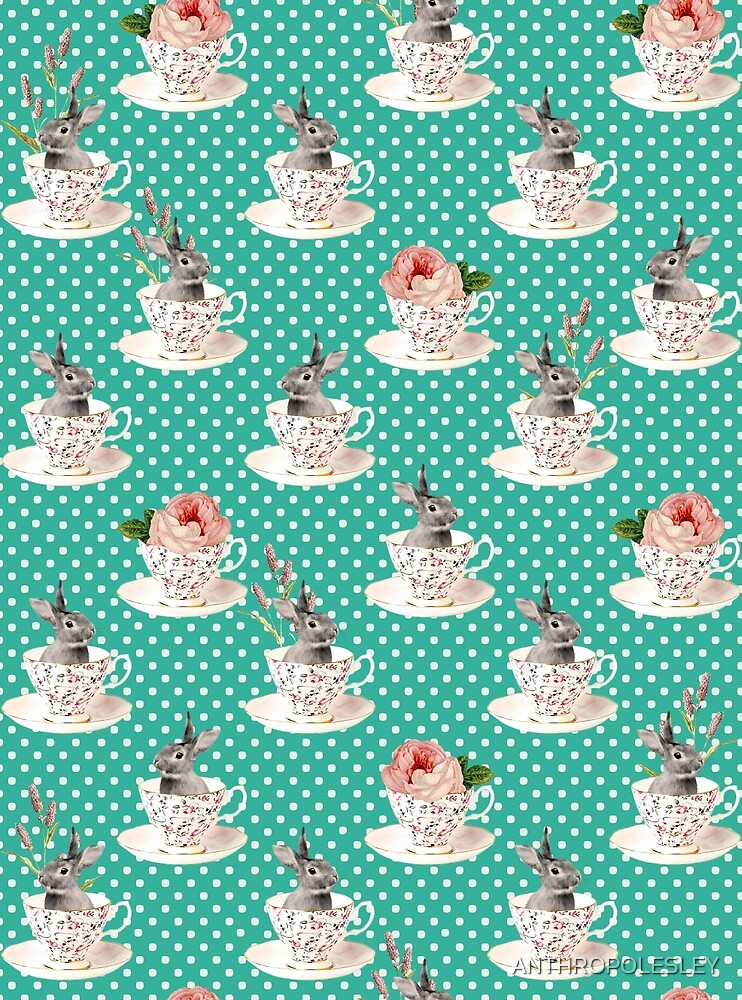 Spring Tea Bunny #Easter #Rabbit #PolkaDots #Dots #Retro #Fashion #Seamless #Pattern #Teal #Animal by ANTHROPOLESLEY