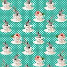 Spring Tea Bunny #Easter #Rabbit #PolkaDots #Dots #Retro #Fashion #Seamless #Pattern #Teal #Animal by ANTHROPOLESLEY