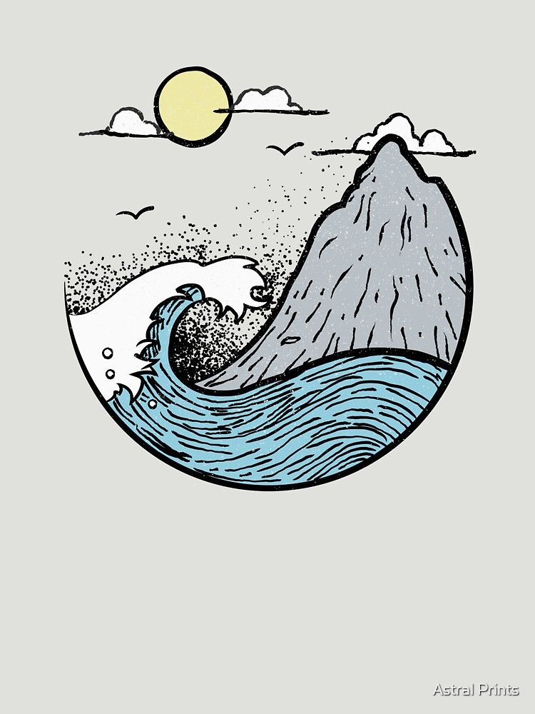 Ocean Waves Under The Mountain by astralprints