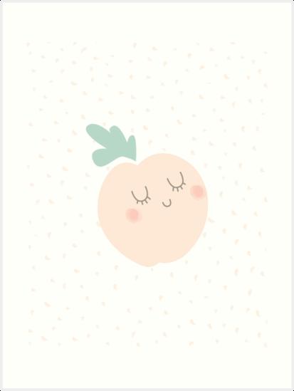 Pastel Just Peachy Cute Nursery Art Print Baby Girl Kawaii by DesIndie