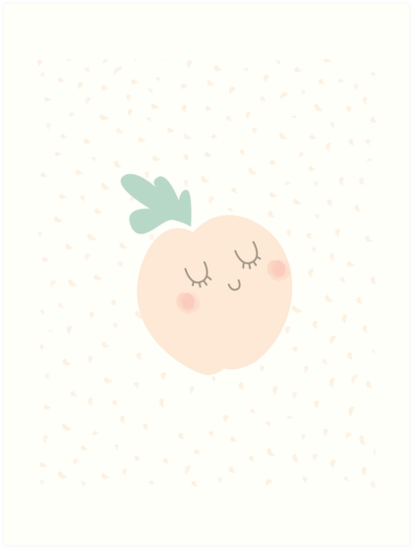 Pastel Just Peachy Cute Nursery Art Print Baby Girl Kawaii by DesIndie