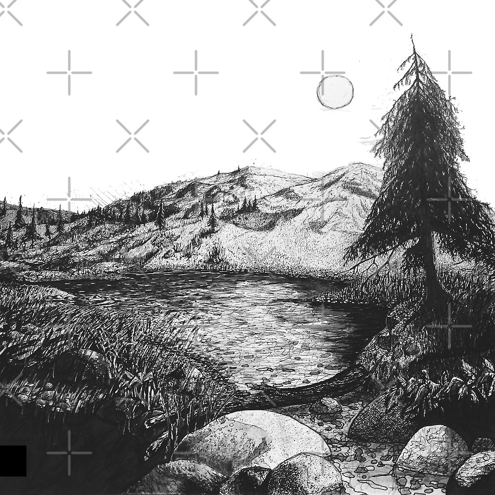 Black and White Ink mountain landscape  by Jacob Thomas