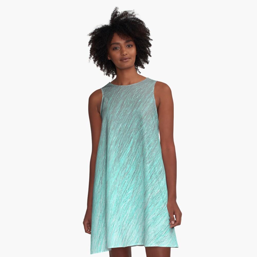 Drifting Cyans through Pastel A-Line Dress Front
