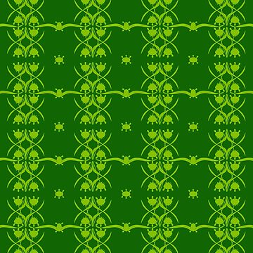 Cute Alien Floral in monochrome green by ssStephG