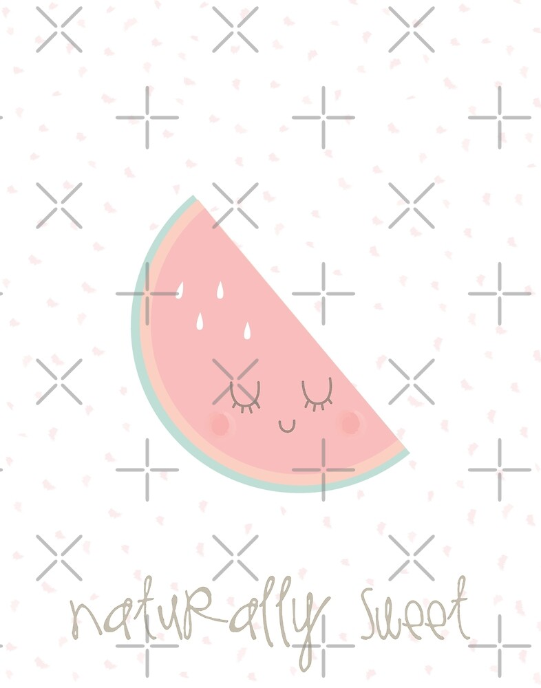 Naturally Sweet Kawaii Soft Pastel Watermelon Nursery Art Print by DesIndie