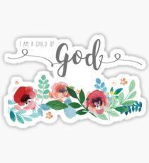 Ich bin ein Kind Gottes Aquarell Blumen LDS Mormon Christian Grafik Design Sticker