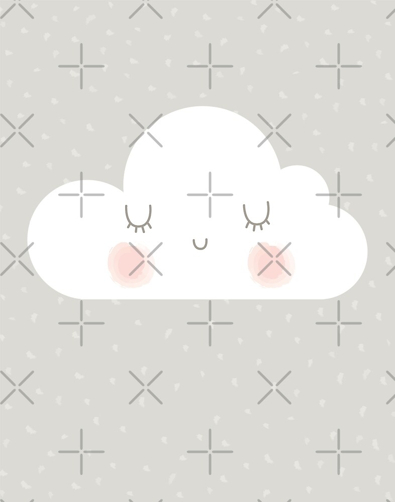 Soft Pastel Kawaii Tan White and Pink Happy Little Cloud Print by DesIndie