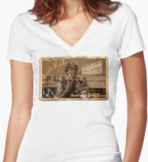 Greetings from East L.A.  Women's Fitted V-Neck T-Shirt