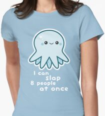 Funny Slapping Octopus Womens Fitted T-Shirt
