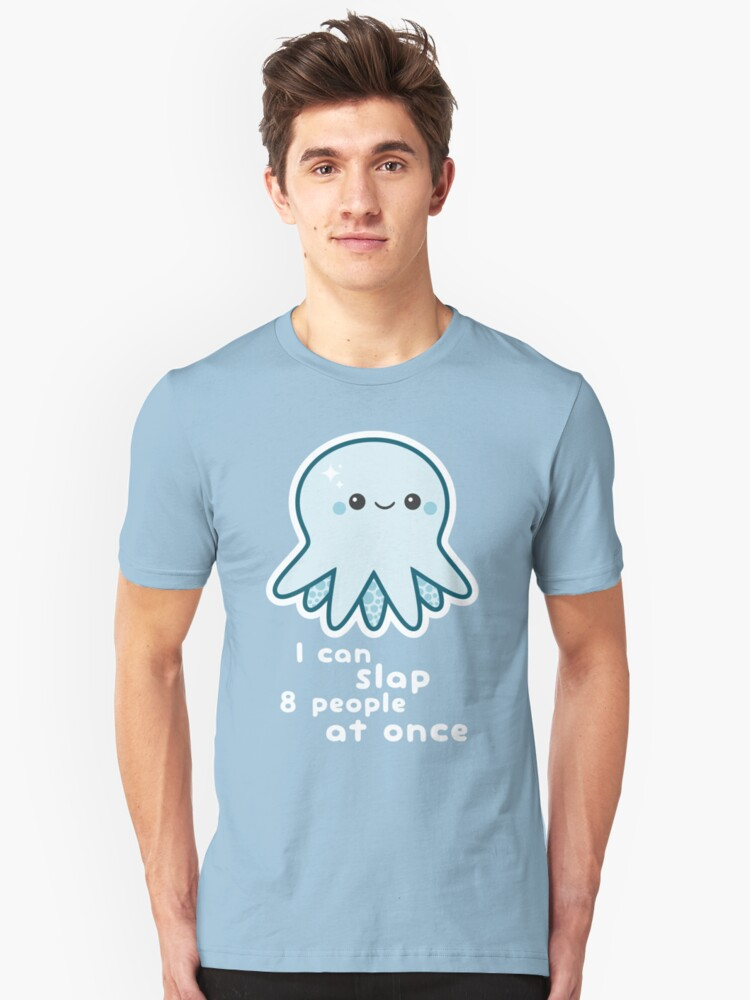 Funny Slapping Octopus Unisex T-Shirt Front