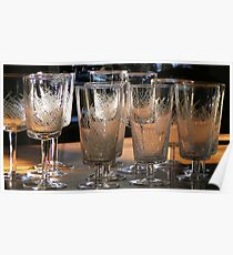 wine glasses & water goblets Poster