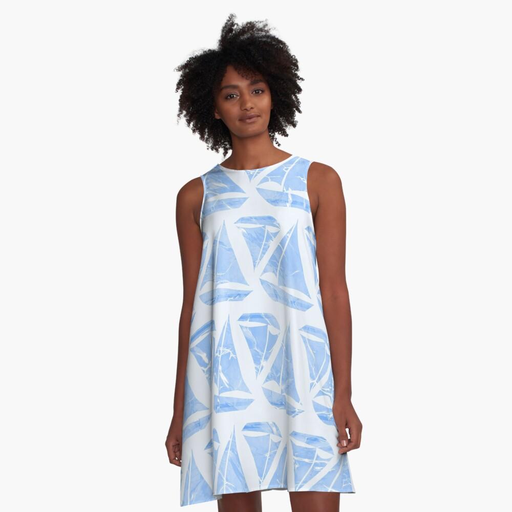 Blue Sailing Boats Water Pattern A-Line Dress