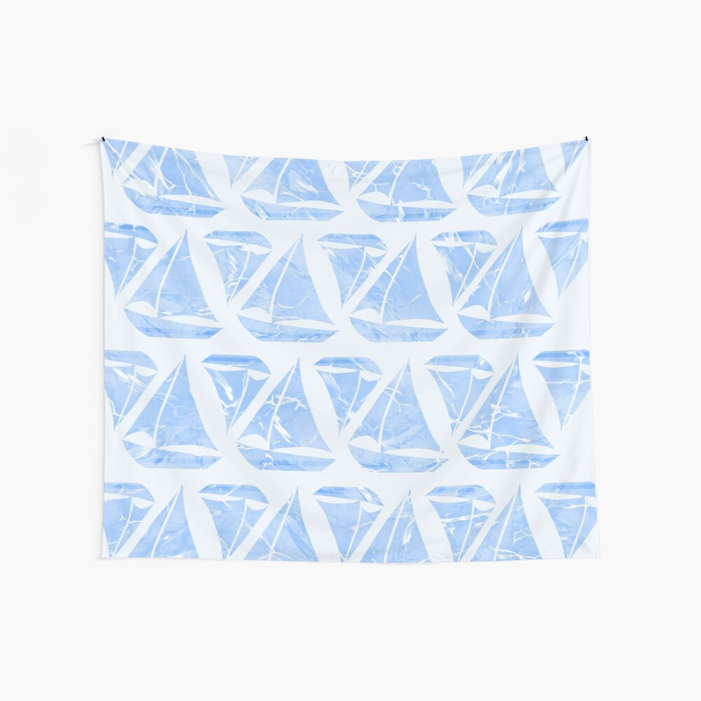 Blue Sailing Boats Water Pattern Wall Tapestry