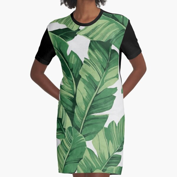 Tropical banana leaves Graphic T-Shirt Dress