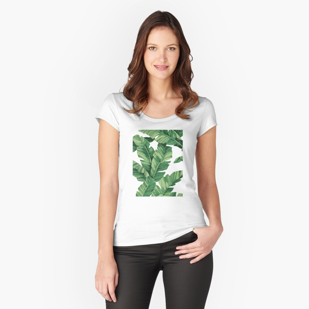 Tropical banana leaves Fitted Scoop T-Shirt