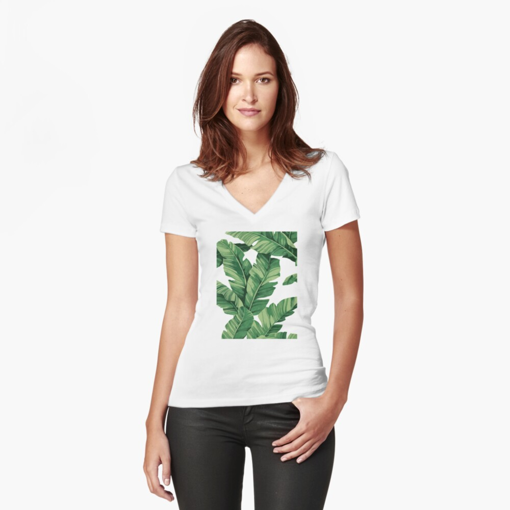 Tropical banana leaves Fitted V-Neck T-Shirt