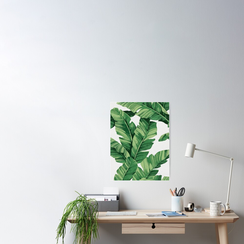 Tropical banana leaves Poster