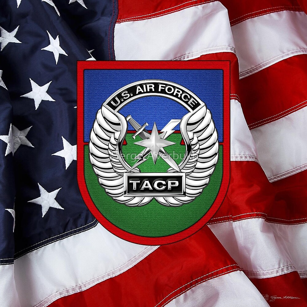 Tactical Air Control Party - TACP Beret Flash With Crest over American Flag by Serge Averbukh