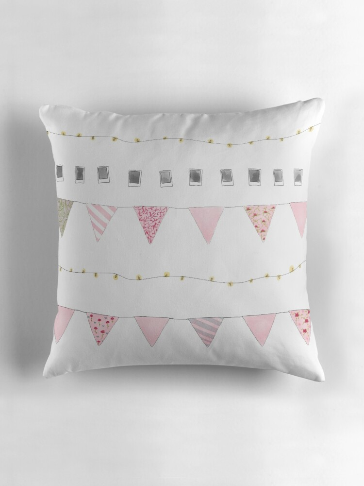 Quot Aesthetic Bunting Quot Throw Pillows By Snug Llamas Redbubble