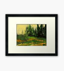 Yellow grass and some trees Framed Print