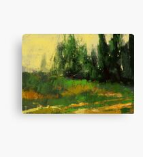 Yellow grass and some trees Canvas Print