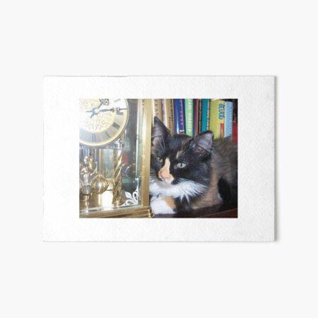 Lucy Watching Clock Art Board Print